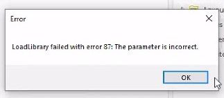 Error: LoadLibrary failed with error 87: The parameter is
