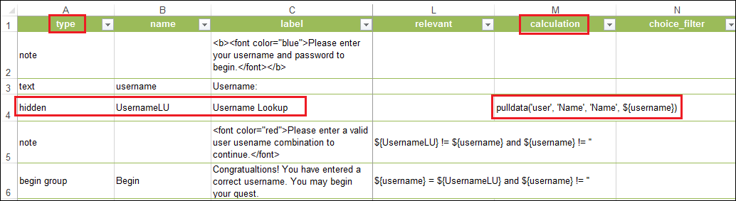 Select hidden as the type for the username lookup