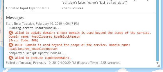 Failed to update domain: ERROR: Domain is used beyond the scope of the service. Failed to execute (Update Domain)
