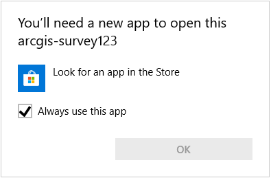 Image of Windows prompt to find new app