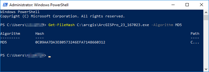 Windows Powershell Administrator pane showing the output checksum value