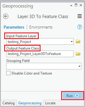 The Layer 3D To Feature Class geoprocessing tool