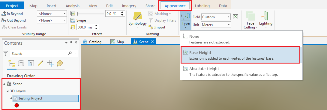 Select Base Height in the Appearance tab