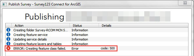 Screenshot of the error when publishing a new survey in Survey123 Connect for ArcGIS.