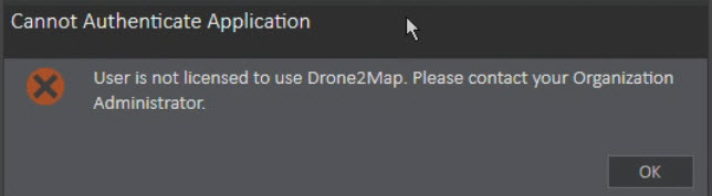 Image of Drone2Map for ArcGIS license error message