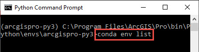 Screenshot of the Python Command Prompt with the list command highlighted.