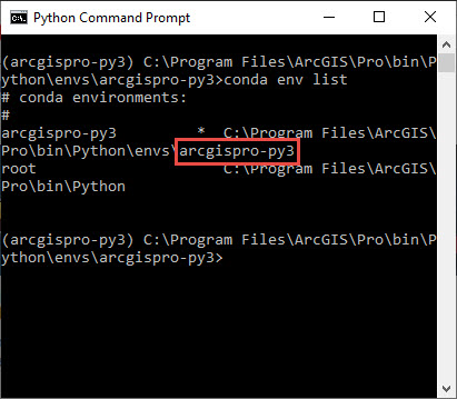 Screenshot of the Python Command Prompt with the environment highlighted.