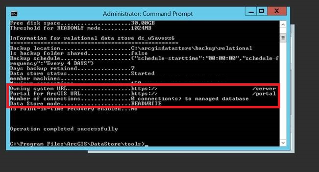 The Utility Command data store information