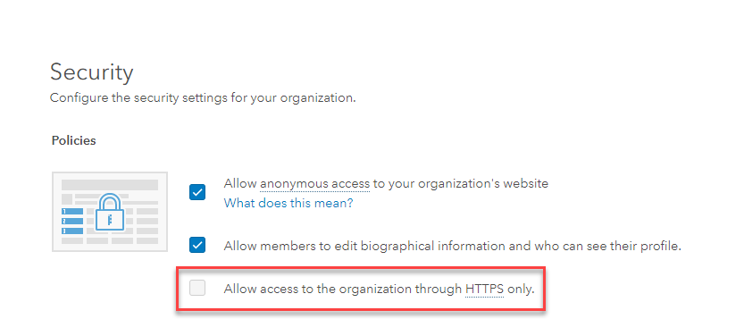 Image of the 'Allow access to the organization through HTTPS only' setting in ArcGIS Online