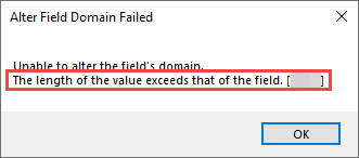 Screenshot of the error when assigning a domain to a field.