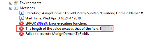 Screenshot of the error when running the Assign Domain To Field tool.