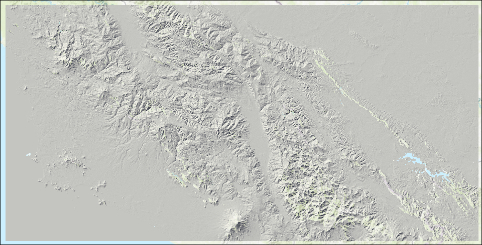 The shaded relief of the mosaic dataset without any gap between the images.