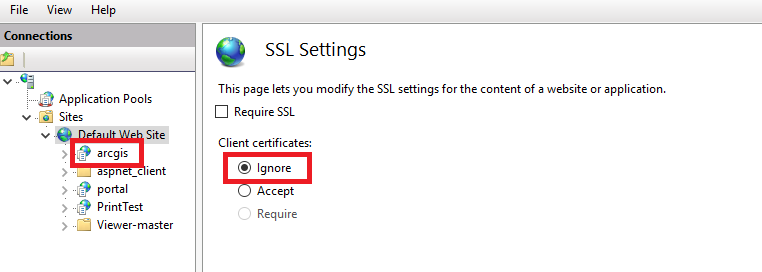 Image of the Ignore selection in SSL Settings for the arcgis instance in Internet Information Services (IIS)