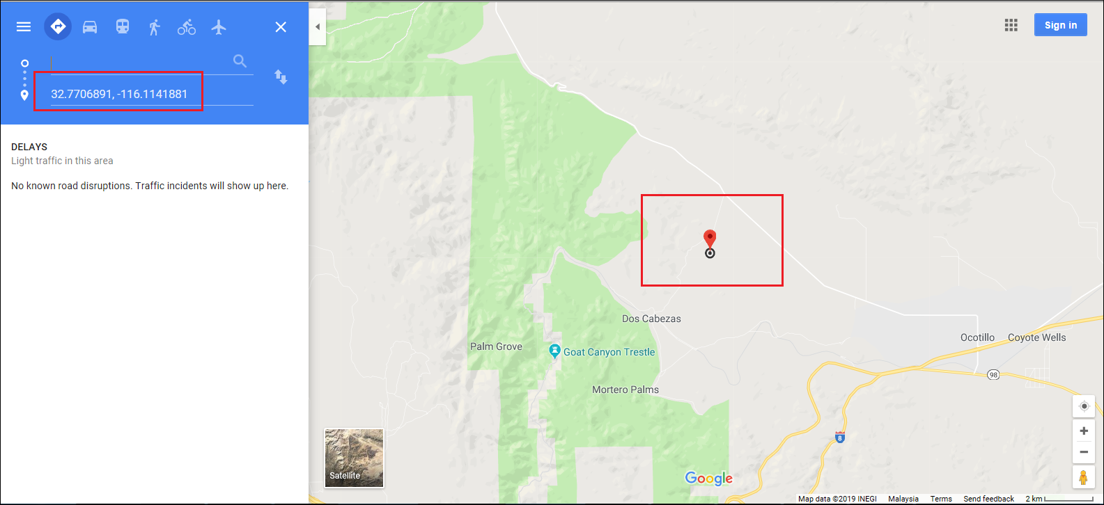 Google Maps is opened in a web browser