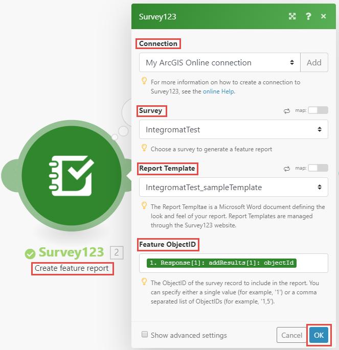Image of Survey123 Create feature report module