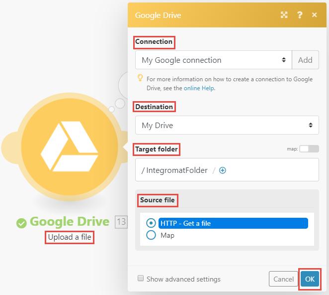 Image of Google Drive Upload a file module