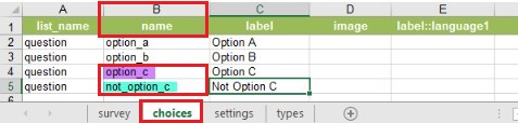 Values in the name column in the choices worksheet.