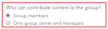 'Who can contribute content to the group?' option