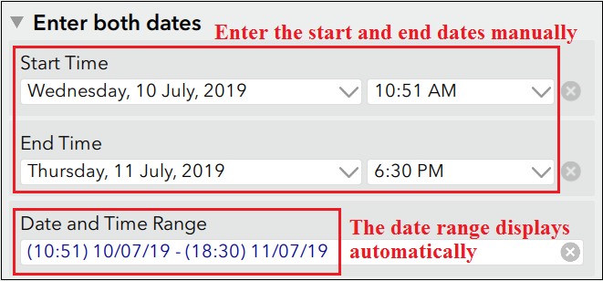Enter start and end dates