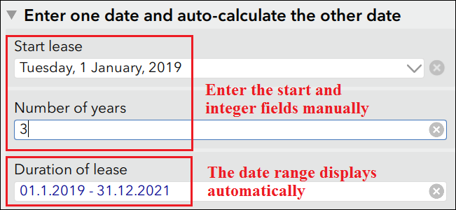Enter the start date and the integer determining the end date.
