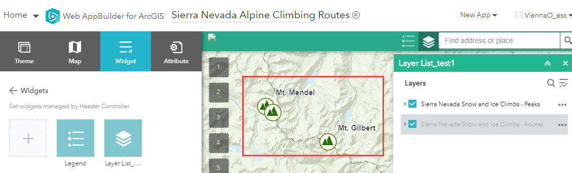 Image showing the Sierra Nevada Snow and Ice Climbs - Routes feature layer not displayed on the web map