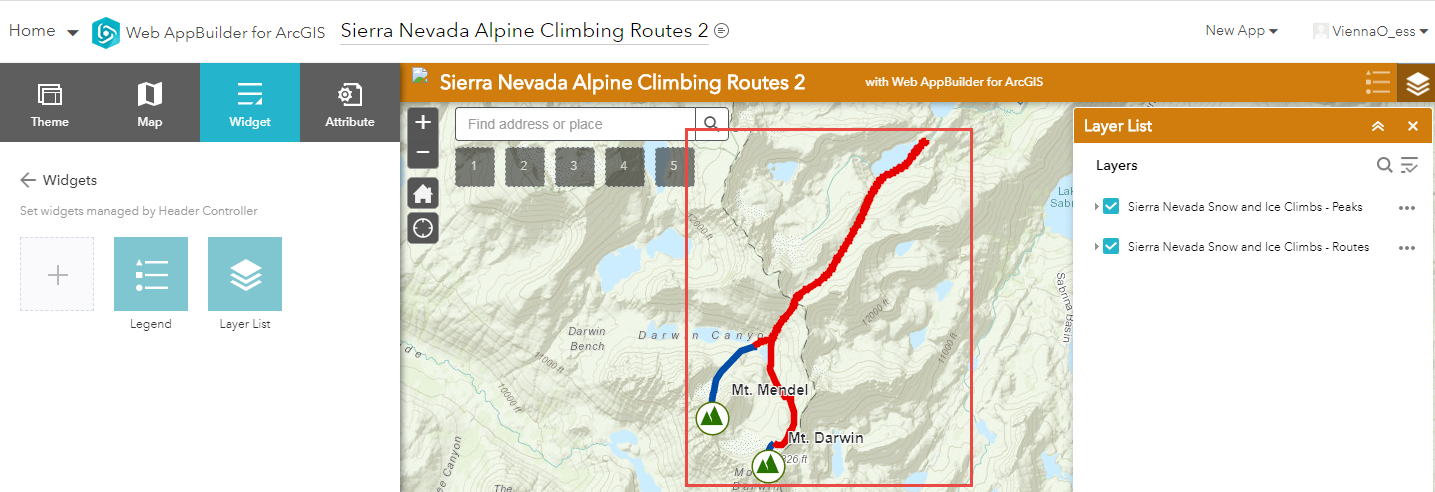 Image showing the Sierra Nevada Snow and Ice Climbs - Routes hosted feature layer displayed on the web map