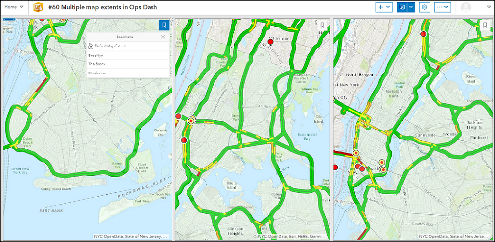 The dashboard comprises of three maps with different map extents