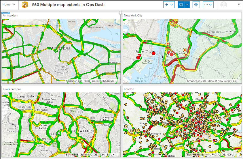 This is the dashboard containing web maps with multiple map extents