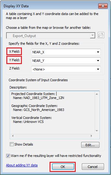 The Display XY Data dialog box