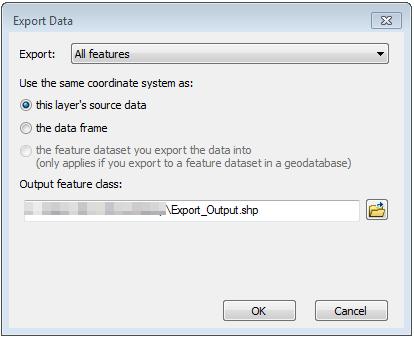 The Export Data dialog box