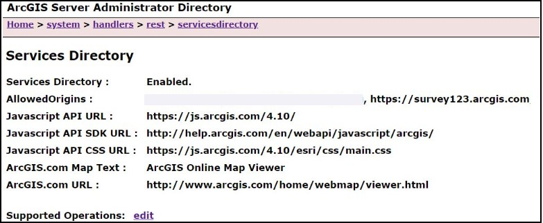 An image of the ArcGIS Server Administrator Directory page.