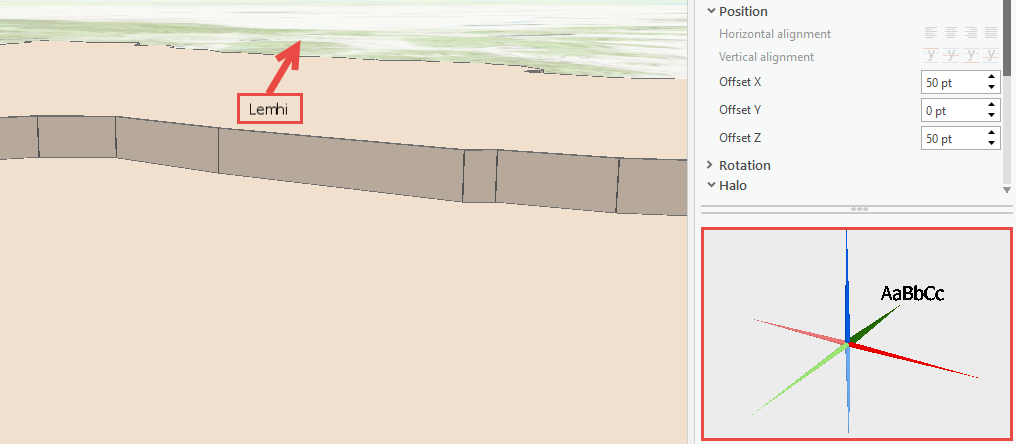 Label not positioned correctly in the scene