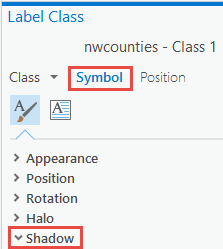 Symbol option and Shadow drop-down