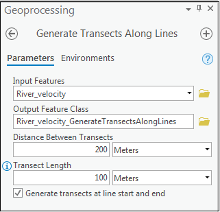 The Generate Transects Along Lines tool