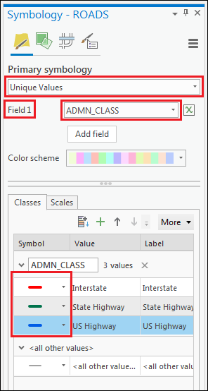 Set the symbol color for Interstate to red, State Highway to green, and US Highway to blue.