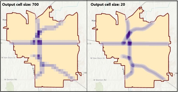 Output cell size comparison.