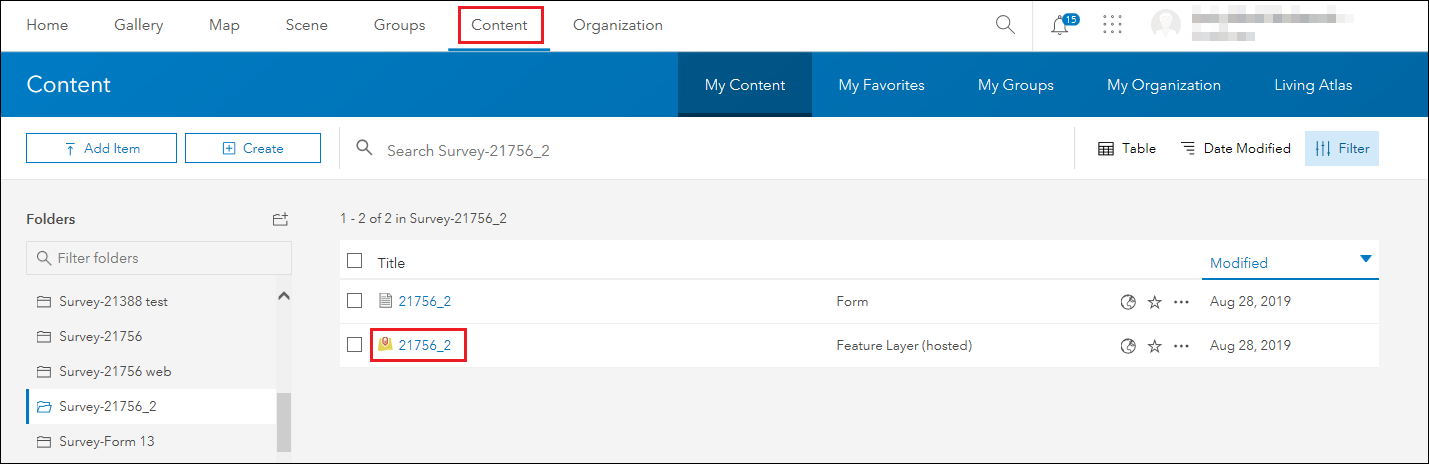 Click the hosted feature layer in the Content tab
