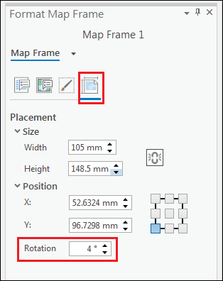 The Format Map Frame pane