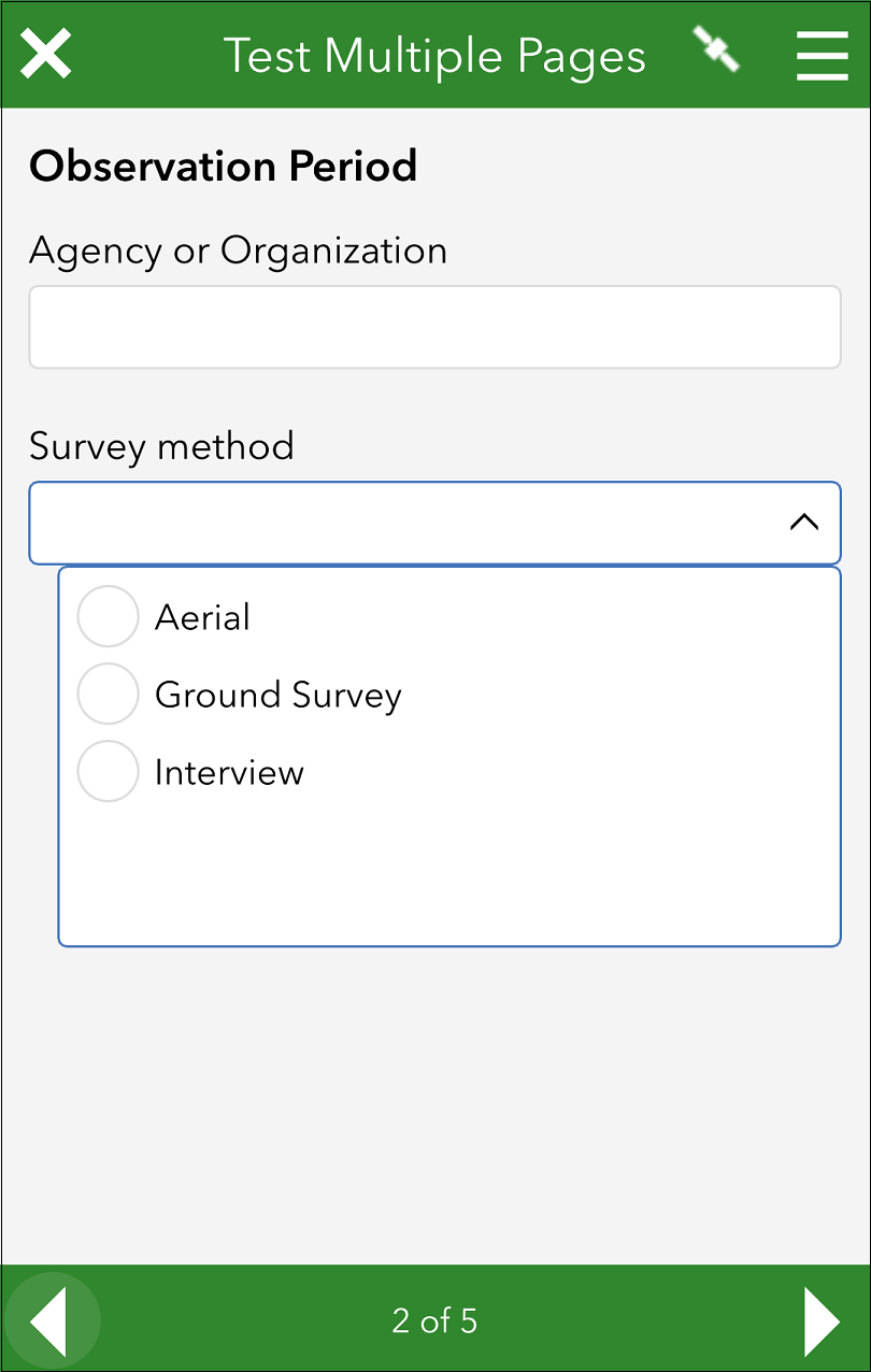 The form in the field app
