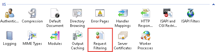 Image of the Request Filtering selection in IIS Manager