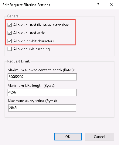 Image of the Allow Unlisted checkboxes in the Edit Request Filtering Settings dialog box