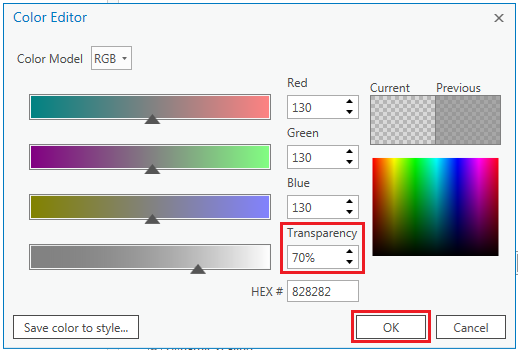 The Color Editor dialog box