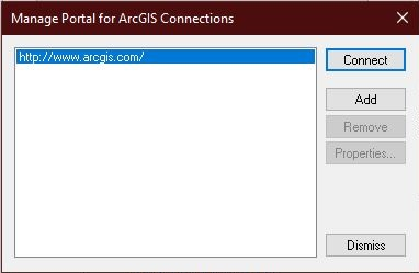 Manage Portal for ArcGIS Connections window