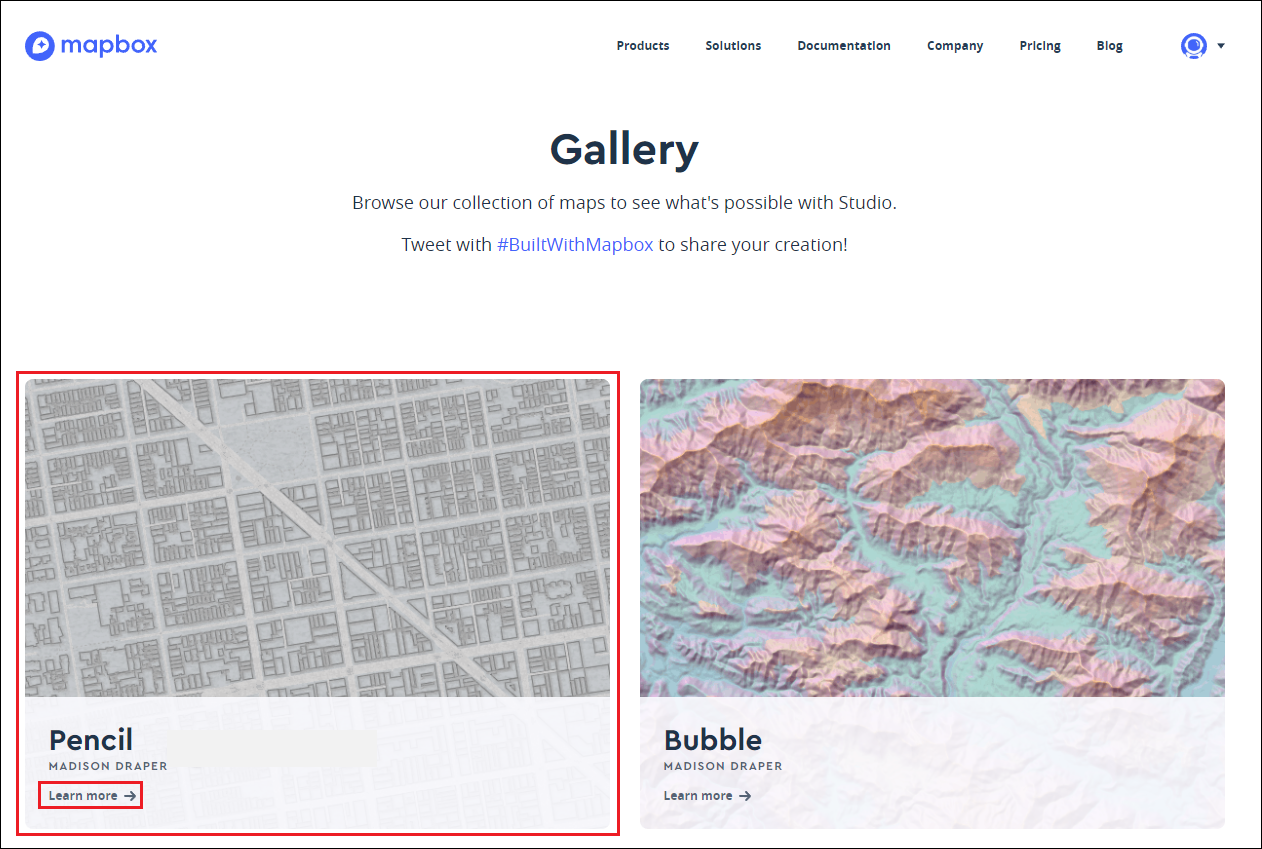 The Mapbox Gallery page