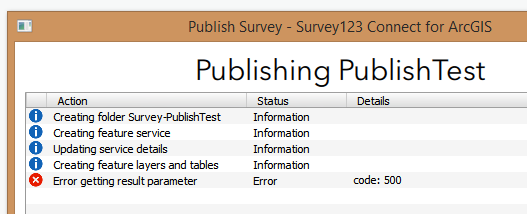 Image of the error in Survey123 for ArcGIS