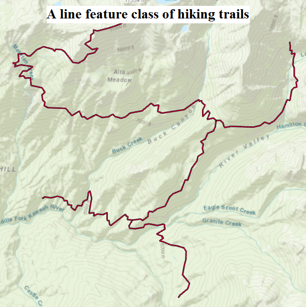 A line feature class of trails.