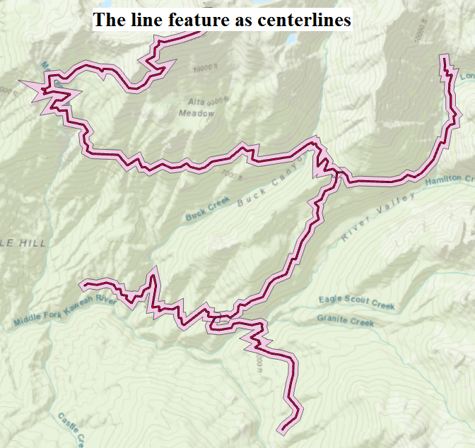 The line feature as centerlines.
