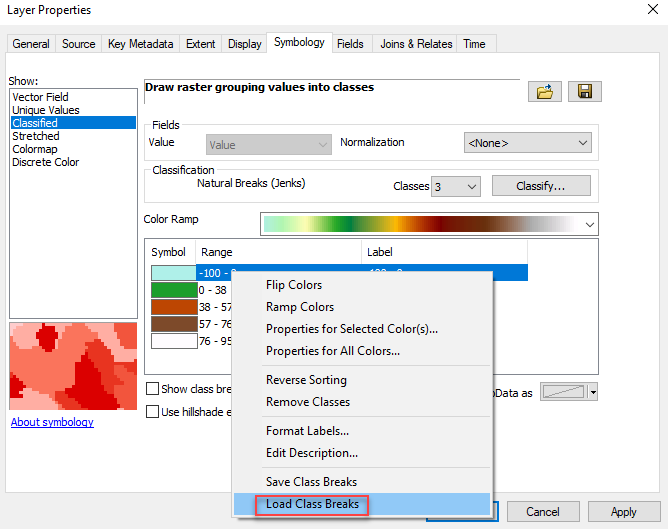 The image of the Layer Properties window with Save Class Break option
