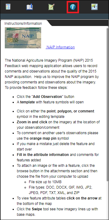 The NAIP 2015 Imagery Feedback web app