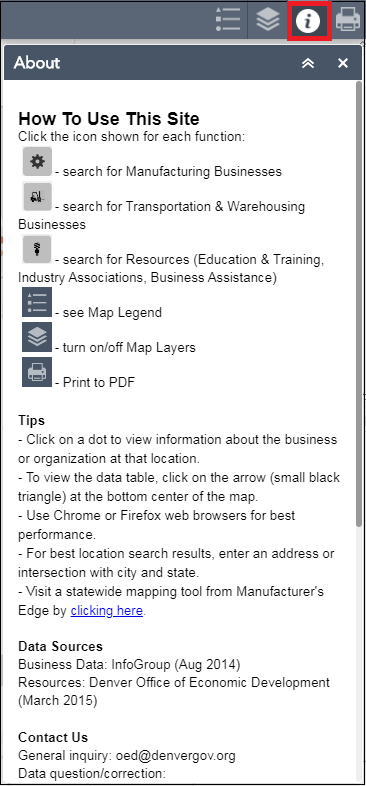 The Denver Manufacturing Map Tool web app.